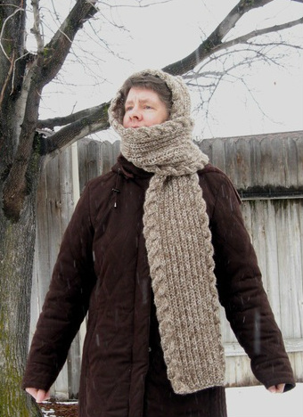 Hooded Fisherman Rib Scarf Judy S Knitting Page