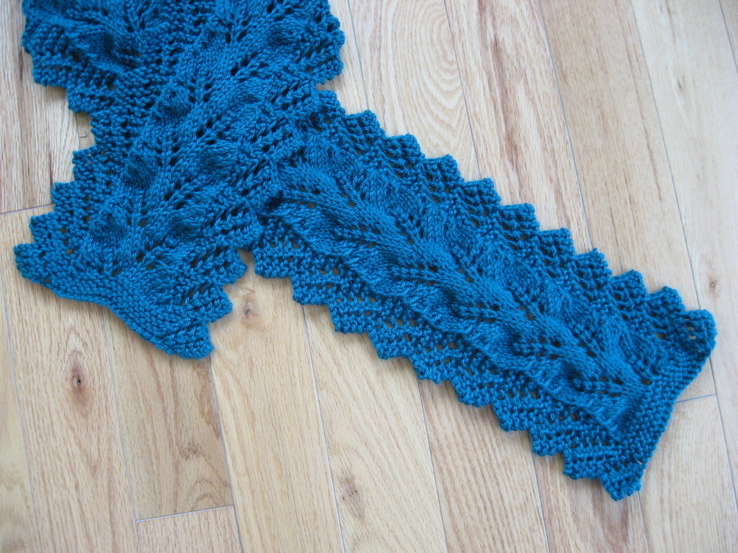 Knitting Stitch By Judy : Lace Edged Fern Scarf - Judys Knitting Page