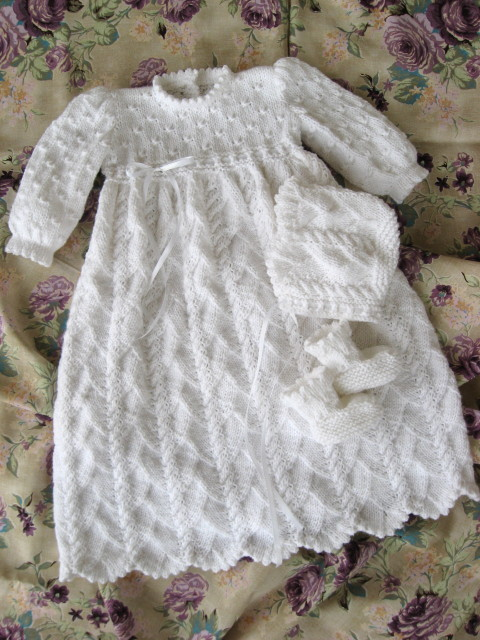 Christening Shawl Knitting Pattern Free : Ocean Breeze Christening Gown and Ensemble - Judys Knitting Page