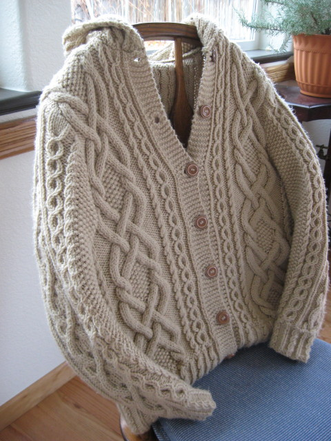 Free Knitting Pattern Baby Cable Cardigan : Whitney Double-X Hooded Cardigan - Judys Knitting Page