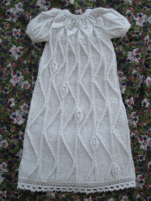 Christening Shawl Knitting Pattern Free : Traveling Leaf Christening Gown - Judys Knitting Page